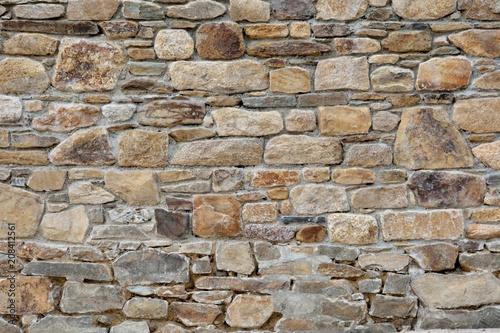 Magnifique mur de pierres en granit à Perros-Guirec en Bretagne Fototapeta
