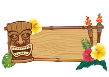 Tiki Mask And Wooden Frame For...