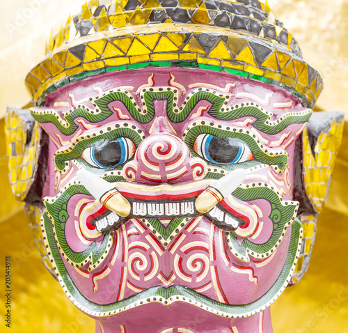 Poster Imagination Face of giant in Temple of Bangkok, Thailand.