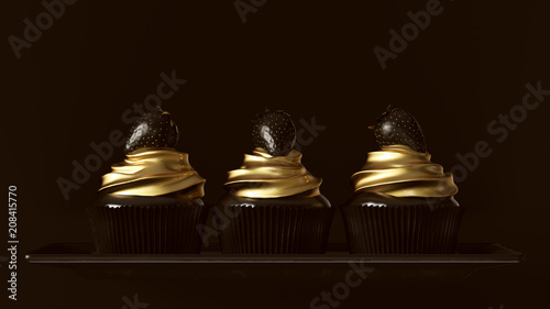 Fotografía  Black and Gold Luxury Strawberry Cakes 3d illustration