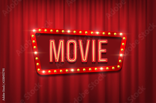 Retro Movie Sign With Bulb Frame On Red Curtain Background Vector Illustration Stock Adobe