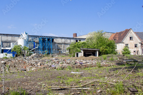 abandoned factory on a background of ruins