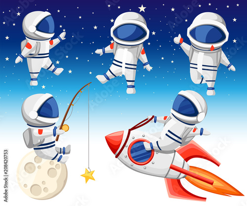 Fotomural Cute astronaut collection