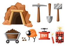 Mining Icon Set. Cartoon Mine Entrance, And Tools For Mining And Quarrying. Retro Tunnel. Old Mine. Flat Vector Illustration Isolated On White Background