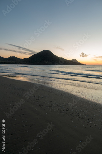 Fotobehang Grijze traf. Sunrise on the beach of the Genoveses of Cabo de Gata