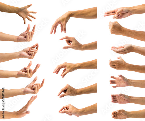 Valokuva  Clipping path of multiple male hand gesture isolated on white background