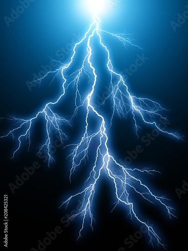 Blue lightning arc electric discharge
