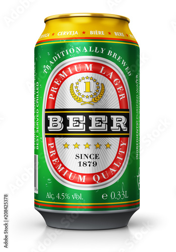 Photo sur Toile Biere, Cidre Light lager beer can isolated on white background