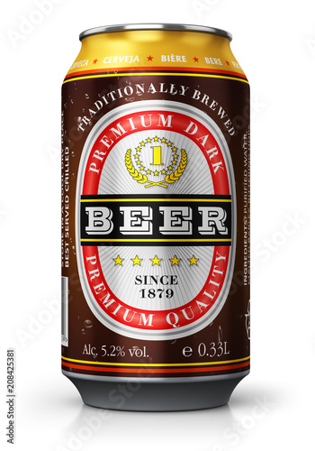 Papiers peints Biere, Cidre Dark beer can isolated on white background