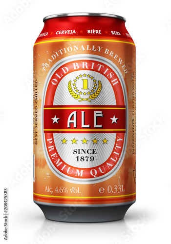 Photo sur Toile Biere, Cidre Red ale beer can isolated on white background