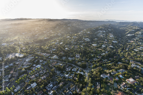 Aerial view of affluent homes and estates in the Bel Air area of Los Angeles, California Wallpaper Mural