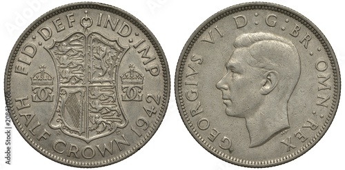 Photo United Kingdom British silver coin 1/2 half crown 1942, WWII issue, shield with