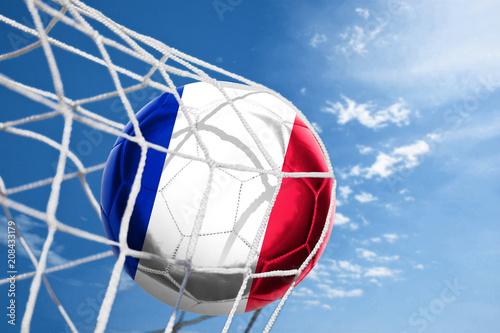 Papiers peints Amsterdam Fussball mit französischer Flagge