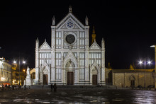 Santa Croce Basilica (Holy Cross Cathedral) In Florence At Night