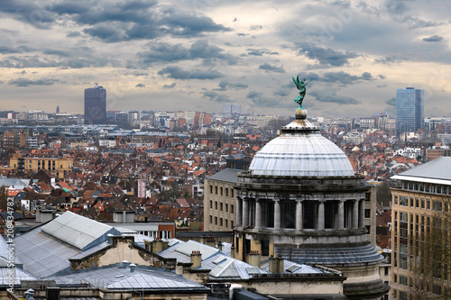 Wall Murals Brussels Aerial view of Brussels, Belgium panorama with dramatic clouds at background
