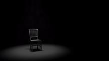 Metal Chair In A Spotlight In ...