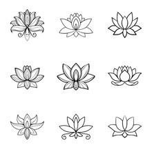 Set Of Lotus Flower Icons. Spa...