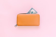 Purse With Hundred Dollar Banknotes On Pink Background. Flat Lay, Top View, Copy Space