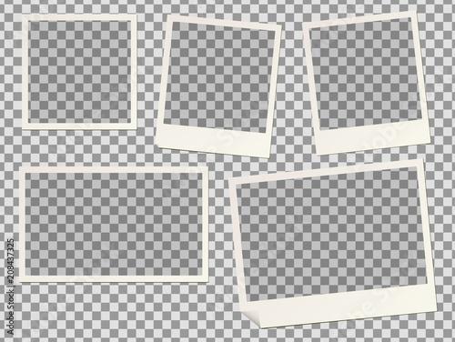 Fototapeta blank instant picture frame affixed with sticky tape obraz na płótnie