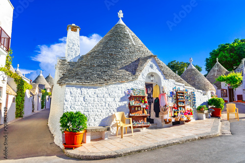 Alberobello, Puglia, Italy: Typical houses built with dry stone walls and conica Wallpaper Mural