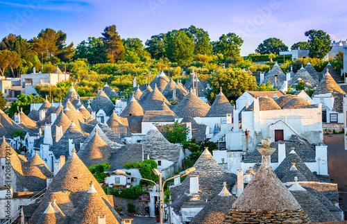 Alberobello, Puglia, Italy: Cityscape over the traditional roofs of the Trulli, Wallpaper Mural