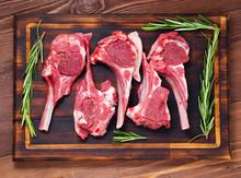 Raw Lamb Cutlets On Bone On Da...