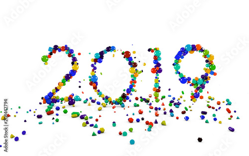 3d Happy New Year 2019 Bubble Colorful Style Background Buy This