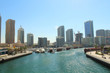 United Arab Emirates. Dubai Marina Canal. View of the city. Panorama. Background. Spring, March, 2018.
