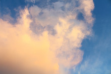 Large Cumulus Cloud And Blue Sky. Background. Landscape.