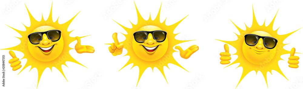 Fototapeta Cartoon Sonne mit Sonnenbrille und Hand Gesten - Set, Daumen hoch, Top, präsentieren, OK