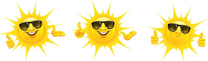 Cartoon Sonne mit Sonnenbrille und Hand Gesten - Set, Daumen hoch, Top, präsentieren, OK