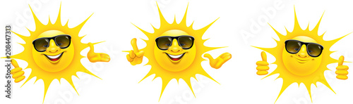 Vászonkép Cartoon Sonne mit Sonnenbrille und Hand Gesten - Set, Daumen hoch, Top, präsenti
