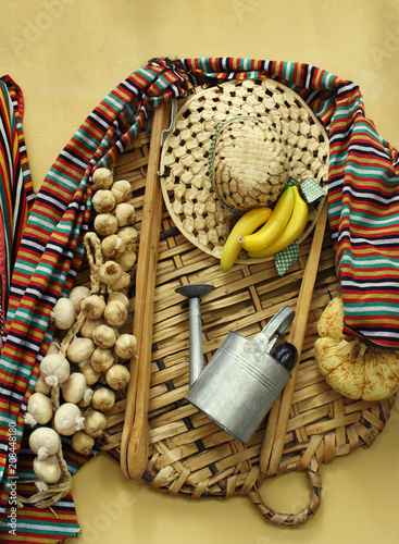 Folk composition of objects and food used by the farmers of the Canary Islands