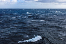 Big Waves At Open Sea. South Atlantic Ocean
