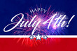 canvas print picture - Happy JUly 4th greeting with red and blue background with fireworks