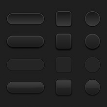 Set Of Black Matted Blank Buttons. Normal And Pushed