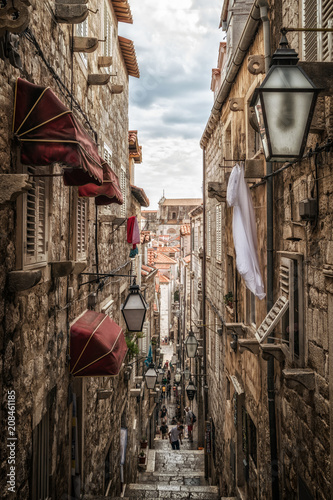 Garden Poster Narrow alley Famous narrow alley of Dubrovnik old town, Croatia