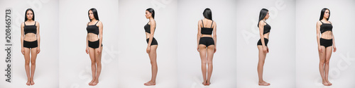 Fotografie, Obraz  collage of serious young woman in black underwear standing over gray studio background
