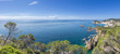 Spanish mediterranean coast at the Costa Brava with village Tossa de Mar and his medieval castle