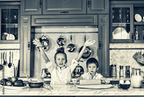 Photo Stands Illustration Paris black and white. happy family, funny kids, preparing, bake cookies, concept coocing.