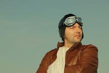 Vintage Pilot With Leather Cap...