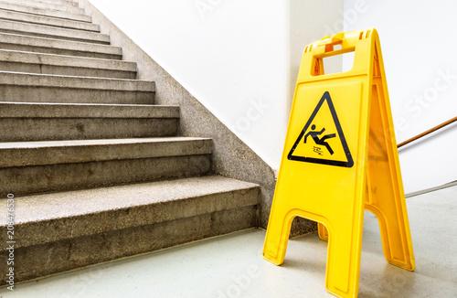 Fototapeta caution slippery surface sign