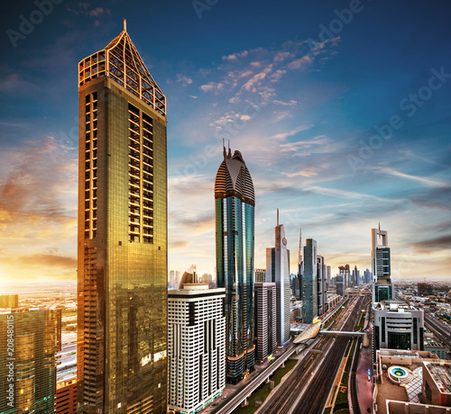 In de dag Stad gebouw Dubai sunset panoramic view of downtown