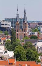 Posthoornkerk Church Built In 1863. City View From The Bell Tower Of The Church Westerkerk, Holland, Netherlands