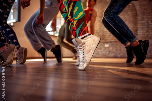 Canvas Prints Dance School leg swings during fitness training
