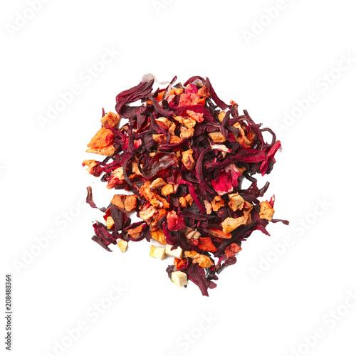 Fotografie, Obraz  Heap of dried herbal tea leaves isolated on white