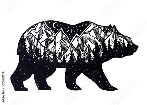 Photo  Bear and night forest mountain landscape, double exposure, wildlife tattoo art, fantasy style