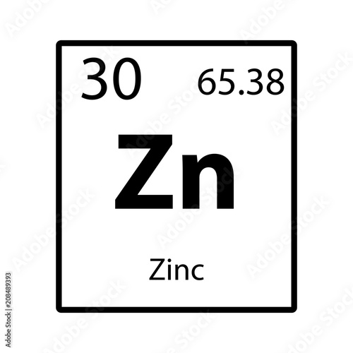 Zinc Periodic Table Element Icon On White Background Vector Buy