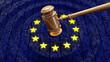 canvas print picture - EU judge hammer hitting GDPR data bits and bytes sentencing European Union fine