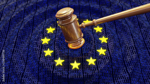 Obraz EU judge hammer hitting GDPR data bits and bytes sentencing European Union fine - fototapety do salonu